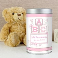 Pink ABC Teddy in a Tin